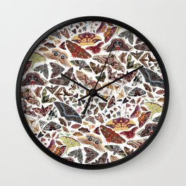 Moths of North America Pattern Wall Clock