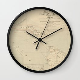 Vintage Hawaii Postage Route Map (1903) Wall Clock