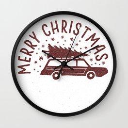 Merry Christmas Station Wagon Wall Clock