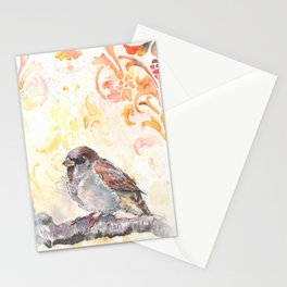 Sparrow in a Damask Autumn Stationery Cards