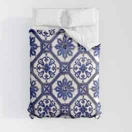 Blue and White Portuguese Tile - Comforters