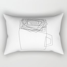 Coffee Illustration Black and White Drawing One Line Art Rectangular Pillow