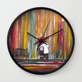 Love in the Rain romantic painting by Manjiri Kanvinde Wall Clock