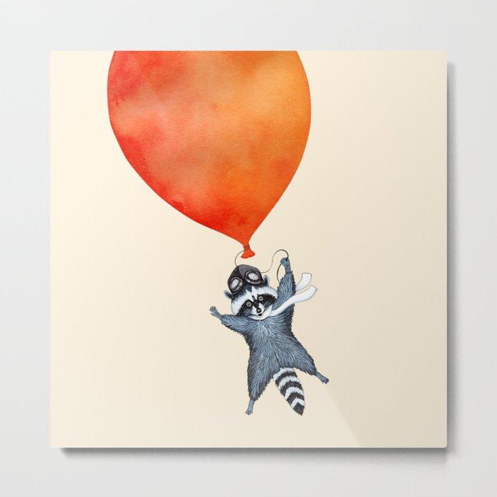 Raccoon and Balloon Metal Print