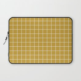 Satin sheen gold - brown color -  White Lines Grid Pattern Laptop Sleeve