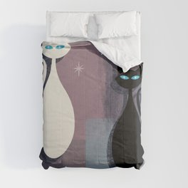 Jazzy Midcentury Modern Black And White Abstract Cats Comforters
