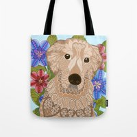 golden retriever Tote Bags featuring Golden Retriever by ArtLovePassion