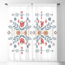 Scandinavian Folk Art Blackout Curtain
