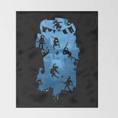 Ninja Kick Ass Clash Throw Blanket