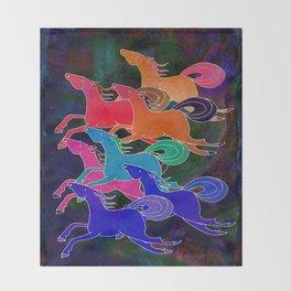 Batik Horses Throw Blanket