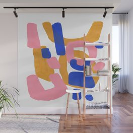 Colorful Minimalist Mid Century Modern Shapes Pink Ultramarine Blue Yellow Ochre Fun Shapes Wall Mural