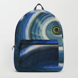 Blue and white spiral shell Backpack