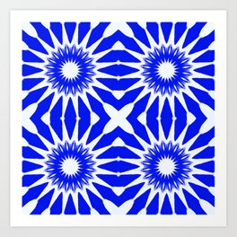 Royal Blue & White Pinwheel Flowers Art Print