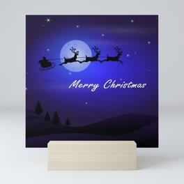 Reindeer pulling Santa's Sleigh Mini Art Print