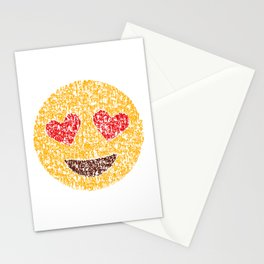 Emoji Calligraphy Art :Smiling face with heart-eyes Stationery Cards