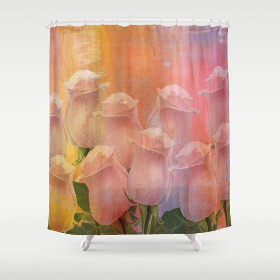 Delicate Painterly Rose Bouquet Shower Curtain By Judy
