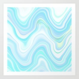 Cool Pastel Blue Lava Marble  #marble #society6 #abstractart Art Print