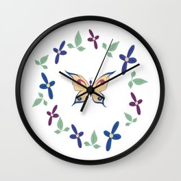 Floral Butterfly Wall Clock