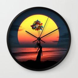 Sunset Balloons Girl Wall Clock