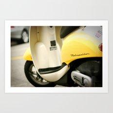 Bright Yellow Metropolitan Moped Art Print