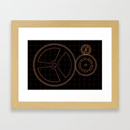 Set of red gears and cogs on virtual screen Framed Art Print
