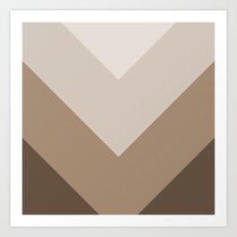 Brown Taupe Chevron Stripes Art Print