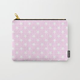 White on Pink Lace Pink Stars Carry-All Pouch