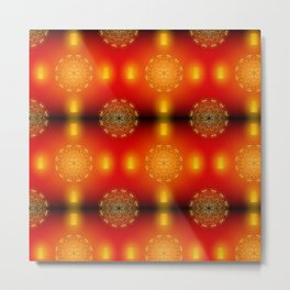 Golden mandala with lantern Metal Print