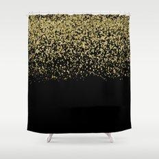 Sparkling gold glitter confetti on black backround- Luxury pattern Shower Curtain
