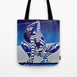 9124s-KMA Powerful Nude Woman Open and Free Striped in Blue Tote Bag