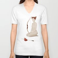 hunter V-neck T-shirts featuring Hunter by olgalolo