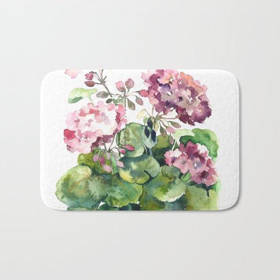 Watercolor pink geranium flowers aquarelle Bath Mat