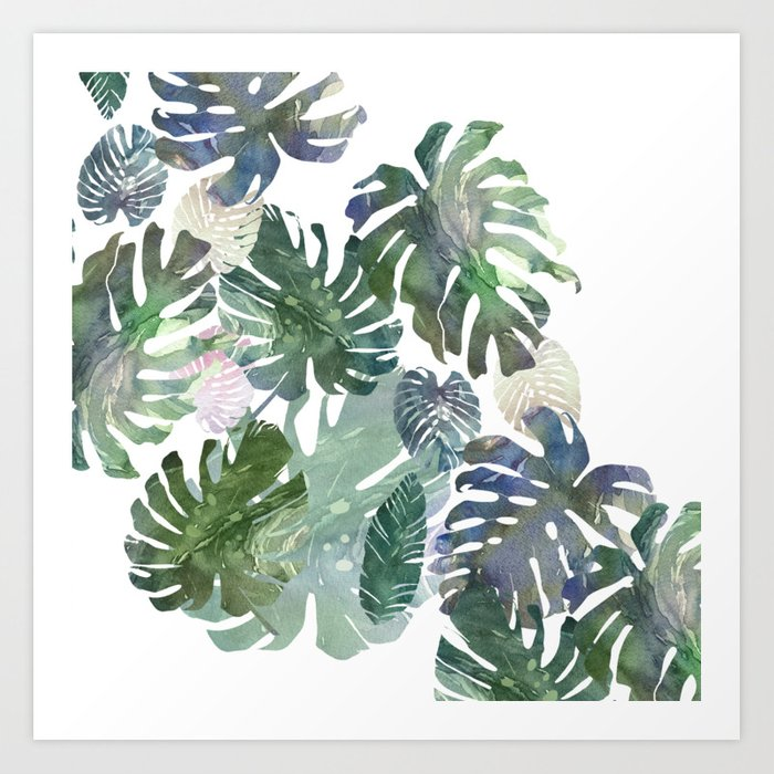 tropical leaves collab Art Print