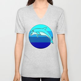 Retro Jumping Dolphin 1980s Beach Design Unisex V-Neck