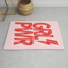 GRL PWR - GIRL POWER (Feminism typography design in red) Rug