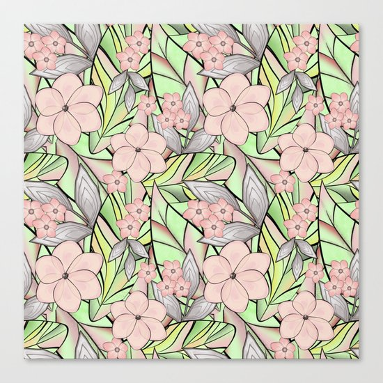 Delicate tropical floral pattern. Canvas Print