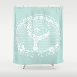Vintage Lahaina Please White Whales Tail Shower Curtain