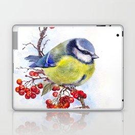 Watercolor Titmouse Great tit winter bird Laptop & iPad Skin