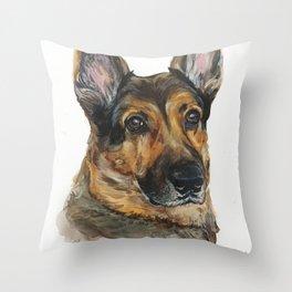 German Shepard dog by Anne Gorywine Throw Pillow