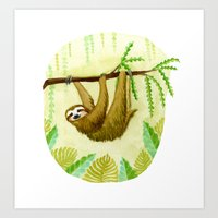sloth Art Prints featuring Sloth by Kirsten Sevig