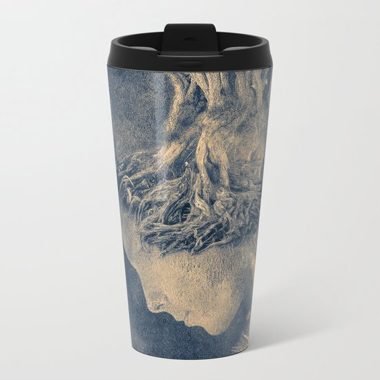 Dark portrait II  (colour option) Metal Travel Mug
