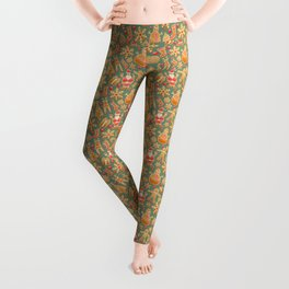 Christmas Green Gingerbread Man Pattern Leggings