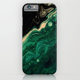 Abstract Pour Painting Liquid Marble Abstract Dark Green Painting Gold Accent Agate Stone Layers iPhone Case