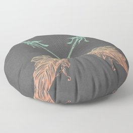 Tribal Arrows Turquoise Coral Gradient on Gray Floor Pillow