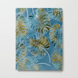 Monsteras leaves or Swiss cheese plant artfully painted in different colors Metal Print