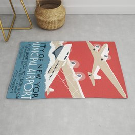 Vintage Airplane Art - City of New York Municipal Airports Rug