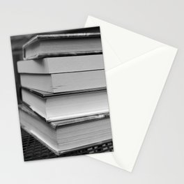 Stack of Books (in black and white) Stationery Cards