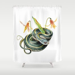 Snake with Wildflower Shower Curtain