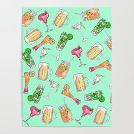 Fun Summer Watercolor Painted Mixed Drinks Pattern Poster