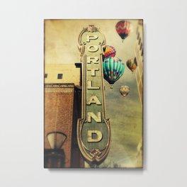Whimsical Portland Oregon (Hot Air Balloon Ride) Metal Print